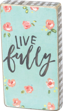"A watercolor art-inspired wooden magnet lending a hand lettered ""Live Fully"" sentiment with floral designs.  Complements well with coordinating designs for a charming décor collection. Size:  1.75"" x 3.25"" x 0.50"""