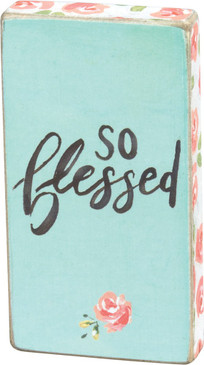 "A watercolor art-inspired wooden magnet lending a hand lettered ""So Blessed"" sentiment with floral designs.  Complements well with coordinating designs for a charming décor collection.  Size: 1.75"" x 3.25"" x 0.50"""