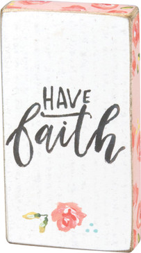 "A watercolor art-inspired wooden magnet lending a hand lettered ""Have Faith"" sentiment with floral designs. Complements well with coordinating designs for a charming décor collection. Size:  1.75"" x 3.25"" x 0.50"""