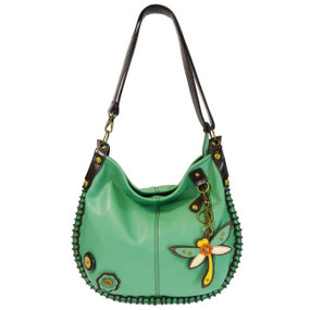 teal dragonfly hobo purse, handbag, faux leather, made by Chala