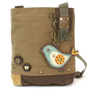 brown bird patch cross body canvas bag, purse, handbag, canvas, whimsical, travel, key fob, made by chala