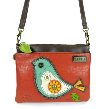 bird mini crossbody, purse, handbag, bird, whimsical, detachable strap, faux leather, made by chala