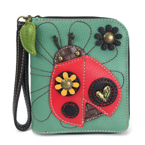"ladybug wallet, faux Leather, 5"" x 6"" x 1"""