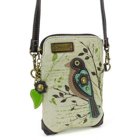 canvas bird cell phone crossbody, purse, handbag, whimsical, bird lover, travel, made by chala