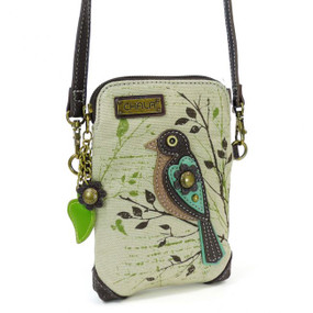 canvas bird cell phone crossbody, purse, handbag, whimsical, bird lover, travel, made by chala