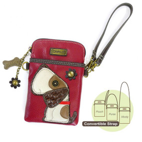 "Keep all your essentials close by in this cute compact crossbody.   Small front pocket is adorned with our dog character Adjustable straps Top zipper closure Soft inside lining Extra padding throughout the bag to protect your cellphone Materials: Canvas/Faux leather Dimensions: 5"" x 7.5"" x 1"" Strap adjustable: 7""~30"""