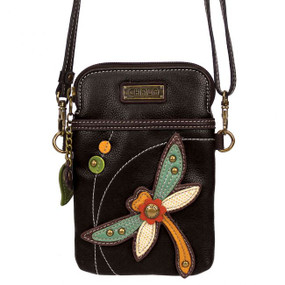 dragonfly cell phone crossbody, purse, handbag, whimsical, dragon fly lover, travel, canvas, faux leather, teen, made by chala