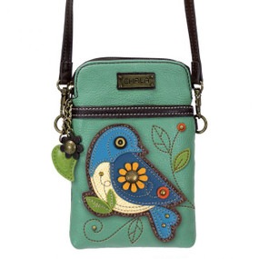 blue bird cell phone crossbody, purse, handbag, whimsical, bird lover, travel, canvas, faux leather, teen, made by chala