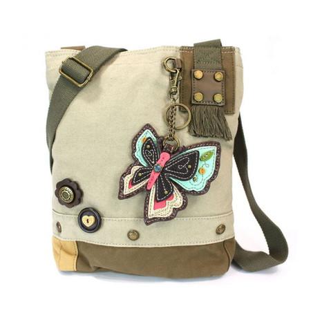 sand butterfly patch crossbody canvas bag, purse, handbag, canvas, whimsical, travel, key fob, made by chala