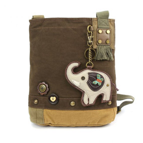 dark brown elephant patch crossbody canvas bag, purse, handbag, canvas, whimsical, travel, key fob, made by chala