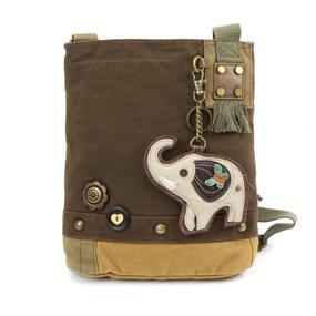dark brown elephant patch crossbody canvas bag, purse, handbag, canvas, whimsical, travel, key fob, made by chala