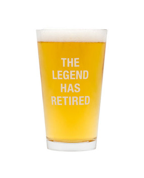 The Hilarious Say What? Retirement pint glasses are a large 16 oz. capacity and are outrageously funny. The perfect gift for retiring family, friends or co-workers.