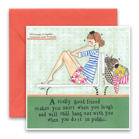 "Embrace the magic of small moments with Curly Girl! Colorful collage art and hand-stamped wisdom make every piece a work of art that happens to be a super handy, post-perfect greeting card! Go ahead, snort in public! ""A really good friend makes you snort when you laugh and will still hang out with you when you do it in public"" Small words: ""life brought us together, foolishness made us friends"". 5.5"" Square* Blank Inside Colored Envelope* Poly-sleeved"