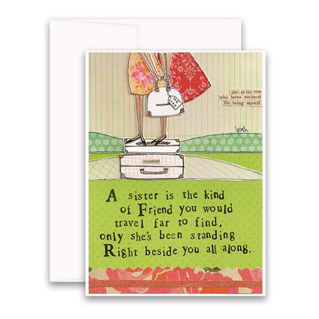 "Embrace the magic of small moments with Curly Girl! Colorful collage art and hand-stamped wisdom make every piece a work of art that happens to be a super handy, post-perfect greeting card! ""A sister is the kind of friend you would travel far to find, only she's been standing right beside you all along"" Small words: ""she is the one who loves me most for being myself"" A6 Card (4 1/2″ x 6 1/4″ ) Blank Inside White envelope Poly-Sleeved"