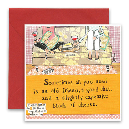 "Embrace the magic of small moments with Curly Girl! Colorful collage art and hand-stamped wisdom make every piece a work of art that happens to be a super handy, post-perfect greeting card!""Sometimes all you need is an old friend, a good chat, and a slightly expensive block of cheese""Small words: ""whether near or far good friends keep us close to who we are""5.5"" Square Card* Blank Inside Colored Envelope* Poly-sleeved*Square cards may require additional postage *Envelope color may vary"