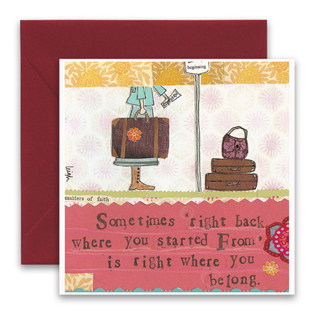 "Embrace the magic of small moments with Curly Girl! Colorful collage art and hand-stamped wisdom make every piece a work of art that happens to be a super handy, post-perfect greeting card!""Sometimes right back where you started from is right where you belong""5.5"" Square Card* Blank Inside Colored Envelope* Poly-sleeved*Square cards may require additional postage *Envelope color may vary"