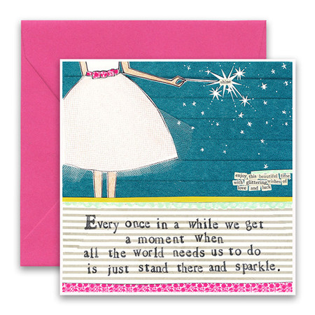 "Embrace the magic of small moments with Curly Girl! Colorful collage art and hand-stamped wisdom make every piece a work of art that happens to be a super handy, post-perfect greeting card!""Every once in a while we get a moment when all the world needs us to do is just stand there and sparkle""  Small words: ""enjoy this beautiful time with glittering wishes of love and luck""5.5"" Square Card* Blank Inside Colored Envelope* Poly-sleeved Glitter details*Square cards may require additional postage *Envelope color may vary"