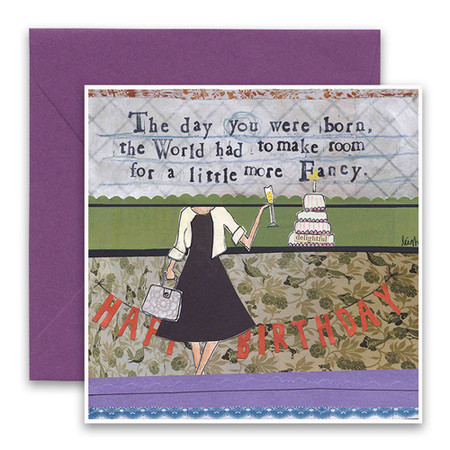 "Embrace the magic of small moments with Curly Girl! Colorful collage art and hand-stamped wisdom make every piece a work of art that happens to be a super handy, post-perfect greeting card!""The day you were born the world had to make room for a little more fancy""Small words: ""delightful""5.5"" Square Card* Blank Inside Colored Envelope* Poly-sleeved*Square cards may require additional postage *Envelope color may vary"