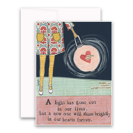 """Embrace the magic of small moments with Curly Girl! Colorful collage art and hand-stamped wisdom make every piece a work of art that happens to be a super handy, post-perfect greeting card!  Our Shine Brightly Card says:""""A light has gone out in our lives, but a new one will shine brightly in our hearts forever.""""Small words: """"sending peace"""" """"thought and sympathies and light to your heart""""A6 Card (4 1/2″ x 6 1/4″ ) Blank Inside White envelope Poly-Sleeved Glitter Details"""