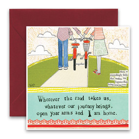 "Embrace the magic of small moments with Curly Girl! Colorful collage art and hand-stamped wisdom make every piece a work of art that happens to be a super handy, post-perfect greeting card!""Wherever the road takes us, whatever our journey brings, open our arms and I am home""Small words: ""there is exceedingly little that makes me happier than being near to you""5.5"" Square Card* Blank Inside Colored Envelope* Poly-sleeved*Square cards may require additional postage *Envelope color may vary"