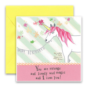 """Embrace the magic of small moments with Curly Girl! Colorful collage art and hand-stamped wisdom make every piece a work of art that happens to be a super handy, post-perfect greeting card!  Our Unicorn Greeting Card says…""""You are strange and lovely and magic and I love you!""""Small words: """"the world is lucky to have your crazy sparkle""""5.5"""" Square* Blank Inside Colored Envelope* Poly-sleeved Gold foil details*Square cards may require additional postage *Envelope color may vary"""