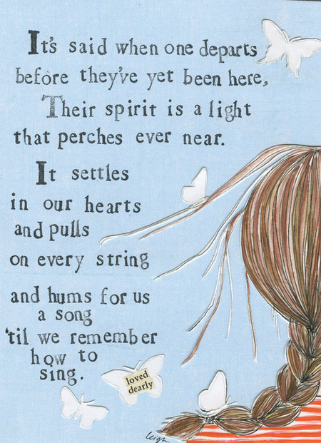 "remember how to sing | sympathy miscarriage card Small words: ""loved dearly"" A6 Card (4 1/2″ x 6 1/4″ ) Blank Inside White envelope Poly-Sleeved"