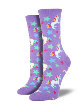 Magical unicorns and shooting stars show off your love for these mystical animals! These socks are sure to brighten up your wardrobe.   Sock size 9-11 fits U.S. women's shoe size 5-10.5 Fiber Content: 63% Cotton, 34% Nylon, 3% Spandex