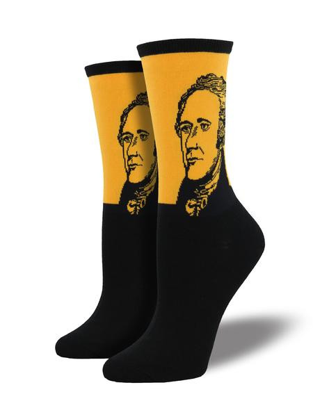 Pay tribute to the United States' first secretary of the treasury with these bold Hamilton socks.   Sock size 9-11 fits U.S. women's shoe size 5-10.5 Fiber Content: 63% Cotton, 34% Nylon, 3% Spandex