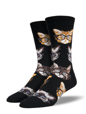 Your feet are sure to purr when wearing these kittenster socks. Featuring a fun repeat pattern of cats wearing glasses, these socks are sure to help show off that cat love!
