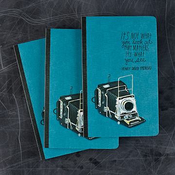 """It's not what yo look at that matters. It's what you see"" - Henry David Thoreau. The Write Now Journal line features beautiful design, modern typography, bold sentiments, striking artwork, and periodic typeset quotations—with plenty of lined pages to capture the day's thoughts, musing, and prose.  Softcover  8""H X 5""W 128 lined pages  Printed with soy ink on FSC®-certified paper"