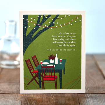 """Inside: Enjoy every moment. Happy birthday. Celebrate the most important people in your life with the best-selling Positively Green line of cards, which feature beautiful illustrations, thoughtful quotations, and a helpful green tip—plus a portion of your purchase goes directly to organizations that protect the environment.   4.25""""W x 5.38""""H Plain white envelope Printed with soy ink on FSC®-certified 100% recycled stock"""