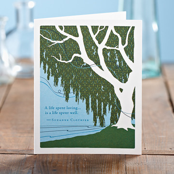 "Inside: With deepest sympathy for your loss. Celebrate the most important people in your life with the best-selling Positively Green line of cards, which feature beautiful illustrations, thoughtful quotations, and a helpful green tip—plus a portion of your purchase goes directly to organizations that protect the environment.  4.25""W x 5.38""H  Plain white envelope Printed with soy ink on FSC®-certified 100% recycled stock"