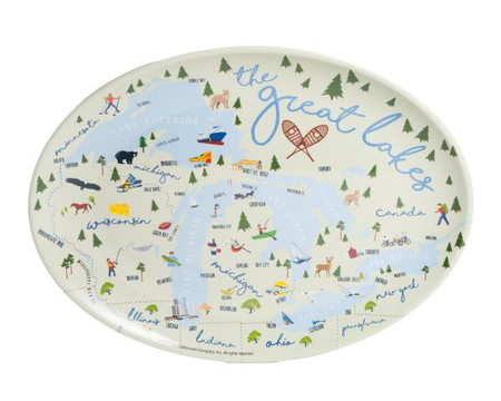 Great Lakes design highlights some of Michigan's favorite outdoor activities! Serve dinner and show your love for the mitten state with this delightful platter.