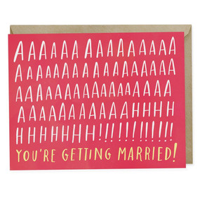"OMG. OMG. OMG. You're getting married! - Blank inside - A2 size (4.25"" x 5.5"") - Offset printed in Los Angeles onto heavyweight matte stock, using environmentally friendly soy inks - Comes with a matching kraft envelope"