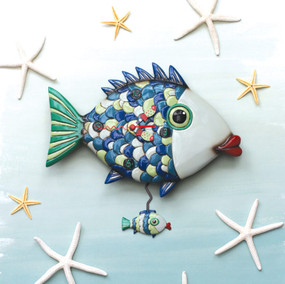 """Fishy lips clock This whimsical clock features: •    measures 11″ x 12″ •    hand-painted fish hands •    swinging fish pendulum •    cast in resin, finished by hand •    requires """"AA"""" battery Designed by artist Michelle Allen"""