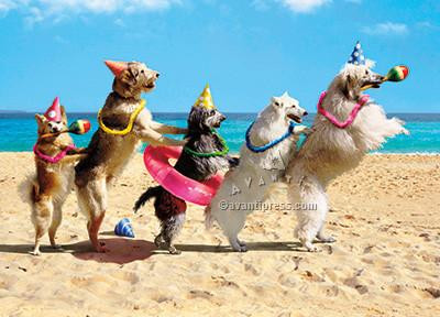 Dog Conga Line Birthday Card