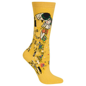 "Fall in love with these Women's Klimt's The Kiss Crew Socks! Part of the Artist Series Collection, these dress socks feature Klimt's kissing couple from his iconic masterpiece. They make a great gift for the art lover in your life, or just for yourself. Show everyone your inner artist with these fun socks. Feel the romance in the Artist Series sock featuring ""The Kiss"" by Klimt. Fits women's shoe size 4-10.5 46% Cotton, 30% Nylon, 22% Polyester, 2% Spandex Machine washes cold, inside out. Only non-chlorine bleach when needed. Tumble dry low. Do not iron. One pair pack Imported"