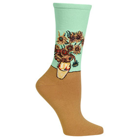 "Add a fun pop of color to any outfit with these Women's Van Gogh's Sunflowers Crew Socks. Part of the Artist Series Collection, these floral print dress socks feature Vincent Van Gogh's famous painting ""Sunflowers."" These fun novelty socks make a great gift for art lovers, flower lovers, and gardeners too. Give your outfit a chic vibe with these fun art socks. Fits women's shoe size 4-10.5 53% Cotton, 24% Nylon, 21% Polyester, 2% Spandex Machine washes cold, inside out. Only non-chlorine bleach when needed. Tumble dry low. Do not iron. One pair pack Imported"