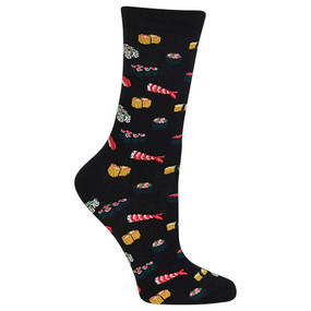"Let everyone know how you ""roll"" in these Women's Sushi Crew Socks. Featuring sushi favorites like maki, nigiri, sashimi and uramaki, these novelty dress socks are a perfect gift idea for that foodie in your life. Add a little sushi chic to your closet with these fun trendy socks. These fun socks will make your next outfit hotter than wasabi! Fits women's shoe size 4-10.5 Machine washes cold, inside out. Only non-chlorine bleach when needed. Tumble dry low. Do not iron. One pair pack Imported"