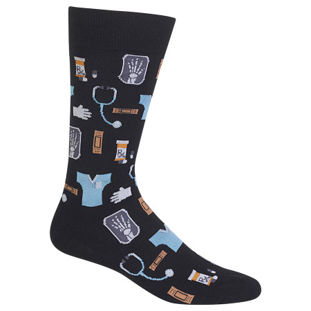 Doctors, nurses and other medical personnel work hard - celebrate them with these medical theme crew socks! With a pattern of scrubs, stethoscopes, X-rays and pill bottles, these fun novelty crew socks will be a favorite. Get these medical themed crew socks for the doctor or medical professional in your life Fits men's shoe size 6– 12.5 49% Cotton 28% Nylon 21% Polyester 2% Spandex Machine wash cold, inside out. Only non-chlorine bleach when needed. Tumble dry low. Do not iron. One pair pack Imported