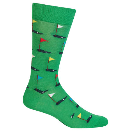 Get a hole in one when you gift these golfing socks to the golfer in your life! These men's crew socks are perfect for a day shooting 18 out with your friends. Hit a hole in one with these men's golf socks! Fits men's shoe size 6-12.5 53% Cotton, 37% Nylon, 7% Polyester, 3% Spandex Machine washes cold, inside out. Only non-chlorine bleach when needed. Tumble dry low. Do not iron. One pair pack Imported