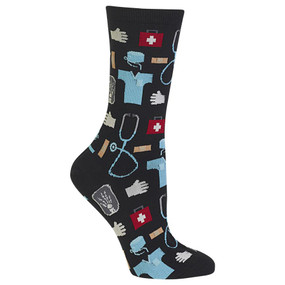 "Need the perfect gift for the doctor, nurse or technician in your life? Look no further than these fun Women's Medical Crew Socks. Featuring all the ""go-to"" medical items like scrubs, gloves, stethoscopes, first aid kits, x-rays and band-aids, these fun socks are made with the medical professional in mind. Stay on the pulse of fashion with these fun medical socks. Fits women's shoe size 4-10.5 50% Nylon, 47% Cotton, 2% Spandex, 1% Rubber Machine washes cold, inside out. Only non-chlorine bleach when needed. Tumble dry low. Do not iron. One pair pack Imported"