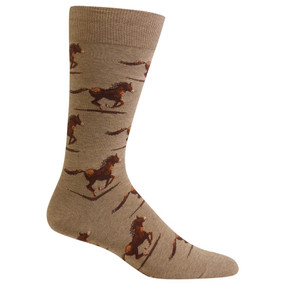 """Horse racing is """"The Sport of Kings,"""" and you'll feel like a king when you're wearing these equestrian socks! These horse racing socks are decorated with horses and jockeys in mid-gallop – perfect for race day at the track. Horse racing socks make a great gift Fits men's shoe size 6– 12.5 55% Cotton, 25% Polyester, 18% Nylon, 2% Spandex Machine wash cold, inside out. Only non-chlorine bleach when needed. Tumble dry low. Do not iron. One pair pack Imported"""