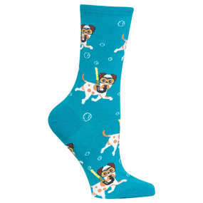 If there's one thing cuter than dogs, it's snorkeling dogs. Which is why Hot Sox has made a snorkeling dog patterned crew sock for women! Imagine your fluffy pup discovering an underwater world when you put on these women's fashion crew socks. Get a pair of these fun women's crew socks today, and jump in! 50% Cotton, 27% Polyester, 21% Nylon, 2% Spandex *