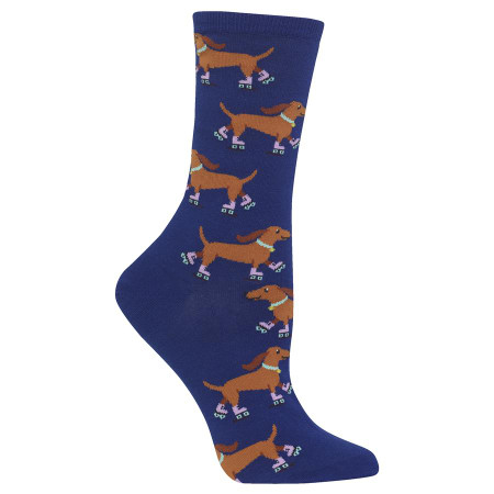 When you need a little extra pep in your step, get these fun roller skating dog socks on your feet. These women's crew socks feature some talented pups and are a creative novelty sock to have in your wardrobe. Get a pair of these fun dog crew socks today. 53% Cotton, 24% Polyester, 21% Nylon, 2% Spandex