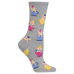 Strut your stuff in the latest animal crew socks from Hot Sox! Featuring little pigs in teacups, these uniquely fun women's crew socks are sure to put a smile on your face and a spring in your step. Get these fashion animal socks on your feet now! 49% Cotton, 29% Polyester, 20% Nylon, 2% Spandex