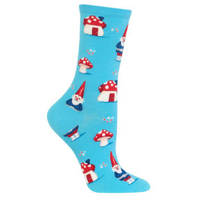 Fun and fanciful, these gnome crew socks are some of the most playful legwear you can own! Featuring happy gnomes and their mushroom houses, these women's crew socks from Hot Sox have just the right amount of fancy for spring. Get a pair of these fun novelty fashion socks for a little extra spring in your step. 49% Cotton, 29% Polyester, 20% Nylon, 2% Spandex