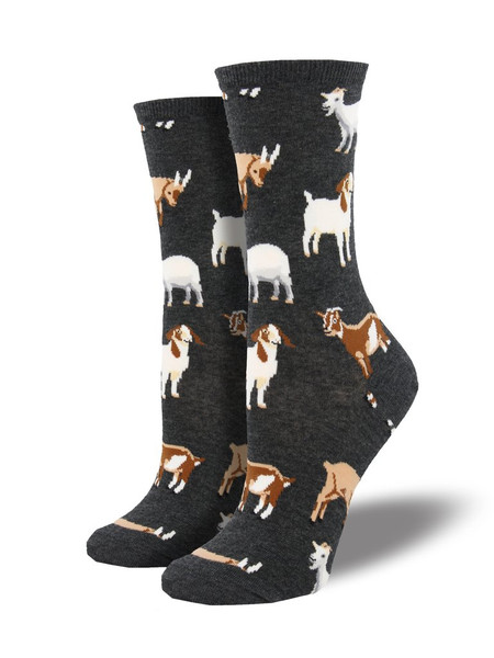 Are you a silly billy? Or do you just love all things animal? Then these billy goat socks are for you! Featuring a variety of goats, these socks are sure to match your earth-tone attire.   Sock size 9-11 fits U.S. women's shoe size 5-10.5 Fiber Content: 63% Cotton, 34% Nylon, 3% Spandex
