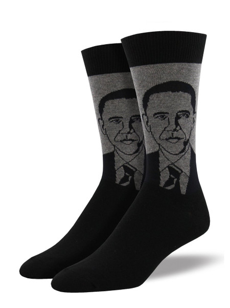Style and feet go together like hope and change with this addition to our historical figure collection, Barack Obama socks. Inaugurate your feet into fashion with these Obama socks.   Sock size 10-13 fits U.S. men's shoe size 7-12.5 Fiber Content: 70% Cotton, 27% Nylon, 3% Spandex