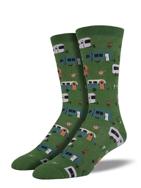 Keep the outdoor adventure vibe rolling with our Camptown socks. Retro trailers, campfires, green grass, and camp chairs create a welcoming summer vacation scene. Wrap your feet in these trailer socks on those work days for a nostalgic remembrance of peaceful days past.    Sock size 10-13 fits U.S. men's shoe size 7-12.5 Fiber Content: 70% Cotton, 27% Nylon, 3% Spandex
